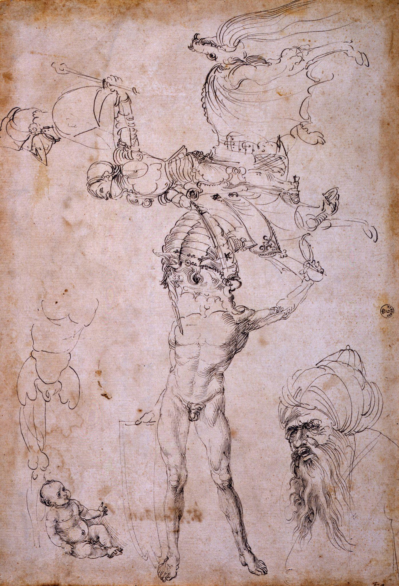Albrecht Dürer, Foglio con studi vari (1495 circa; penna a inchiostro nero e grigio su carta, 370 x 255 mm; Firenze, Gallerie degli Uffizi, Gabinetto dei Disegni e delle Stampe, inv. 1049E)