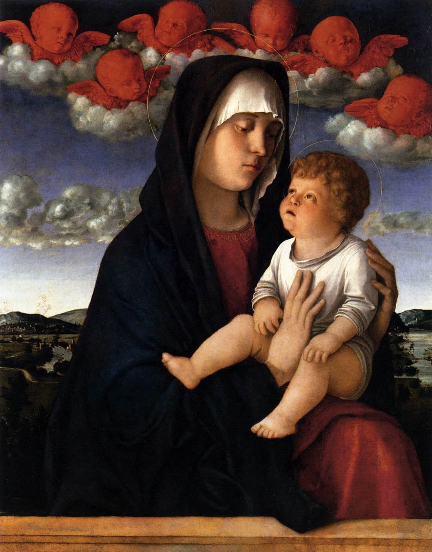 Giovanni Bellini, Madonna dei cherubini rossi (1485; olio su tavola, 77 x 60 cm; Venezia, Gallerie dell'Accademia)