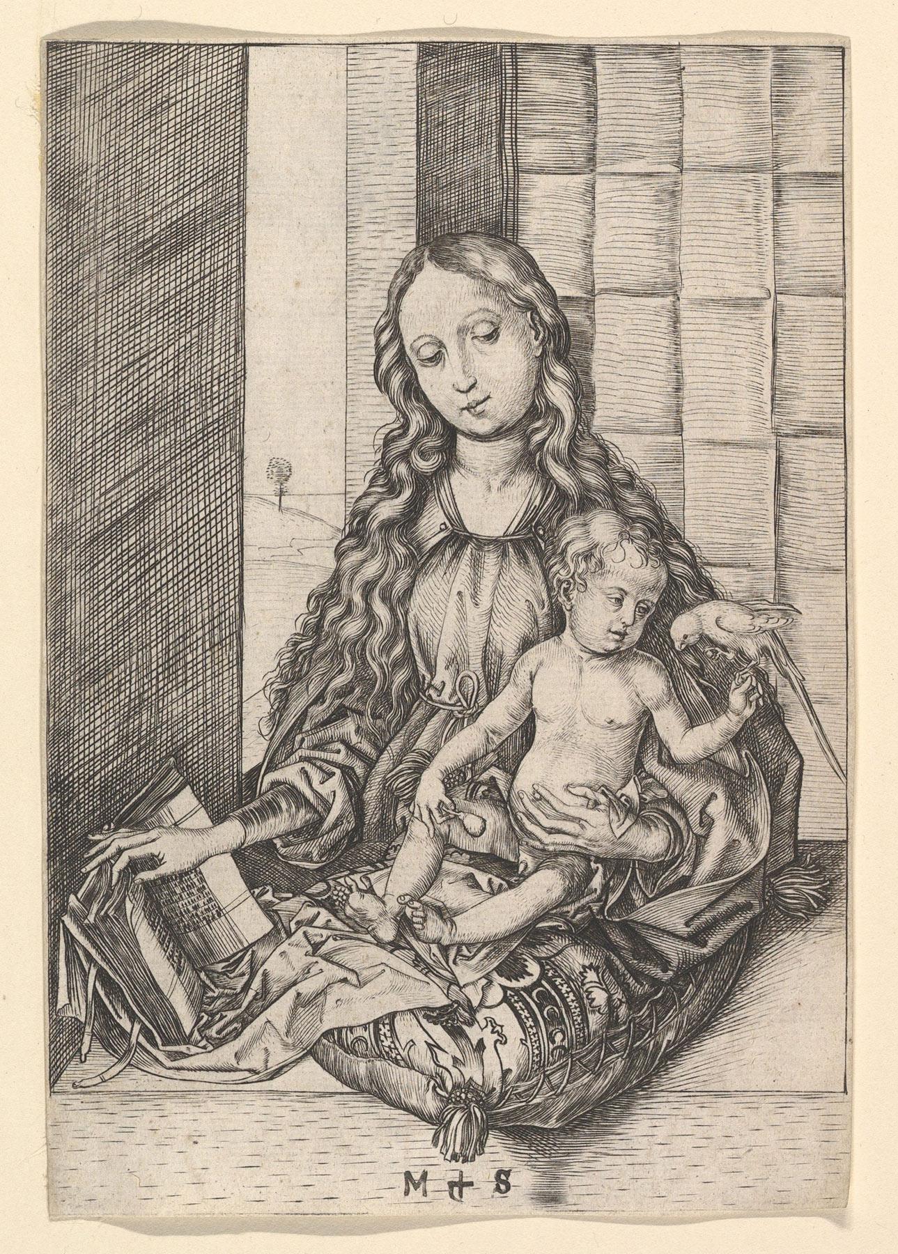 Martin Schongauer, Madonna del pappagallo (1470-75 circa; bulino, 155,8×107 mm; New York, The Metropolitan Museum of Art)