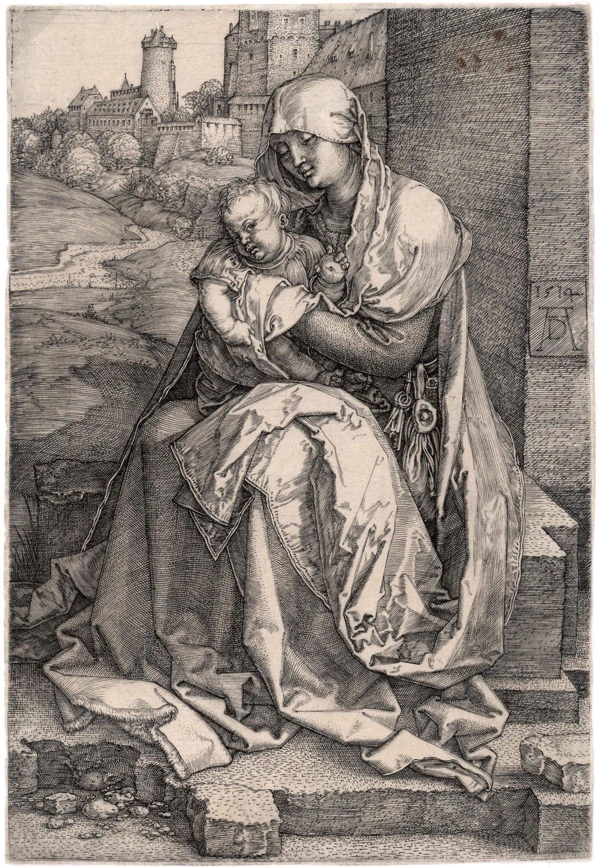 Albrecht Dürer, La Madonna col Bambino seduta presso un muro (1514; bulino, 147 x 101 mm, esemplare privo di margini; esemplare di unico stato, variante A secondo Meder; iscrizioni: a destra, verso il centro, data e monogramma AD)