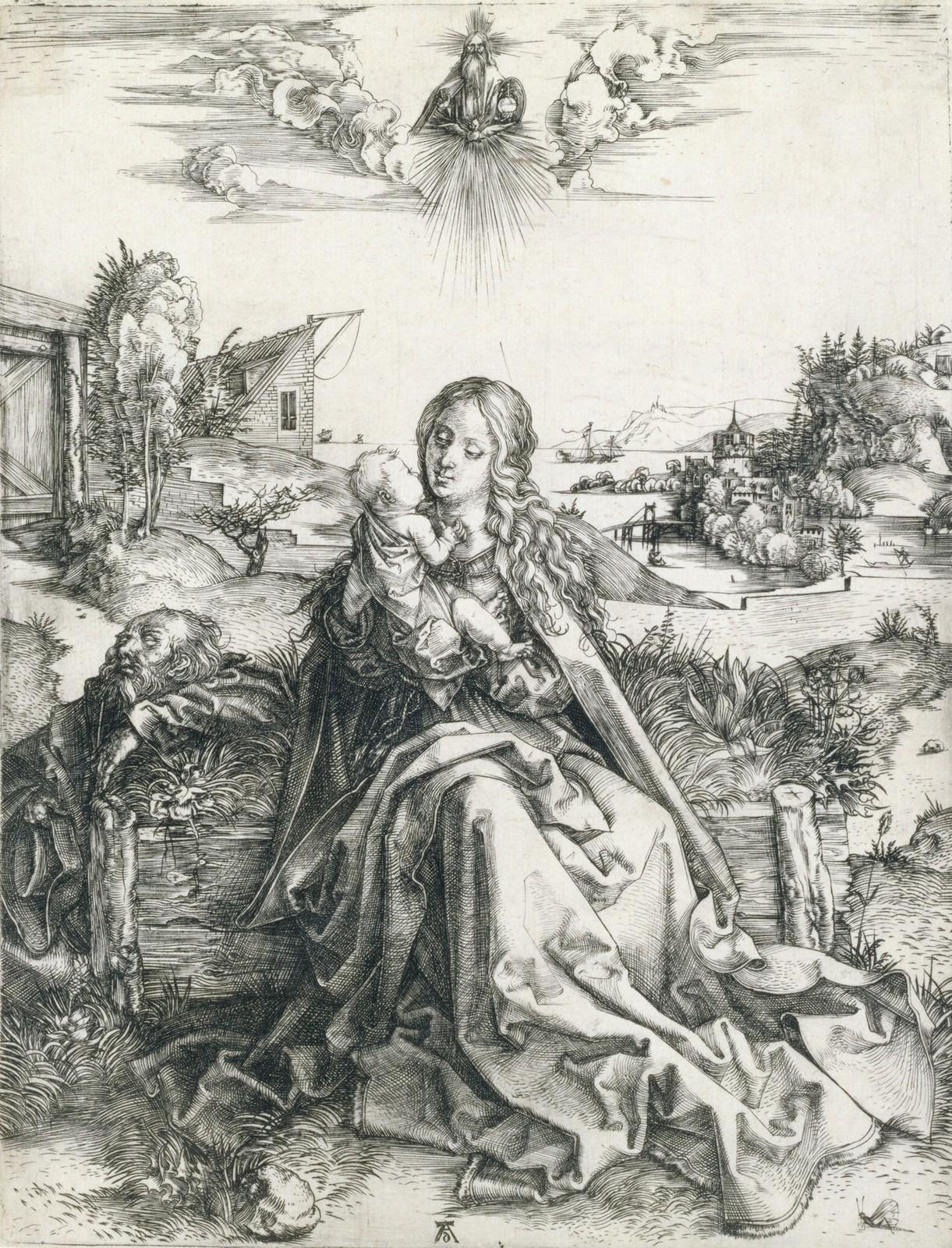 Albrecht Dürer, La Sacra Famiglia della libellula (1495 circa; bulino, 240 x 188 mm, esemplare privo di margini; esemplare di unico stato, con caratteristiche simili alla variante C secondo Meder; iscrizioni: in basso al centro monogramma AD; filigrana parzialmente visibile ma non identificabile; Pavia, Musei Civici)
