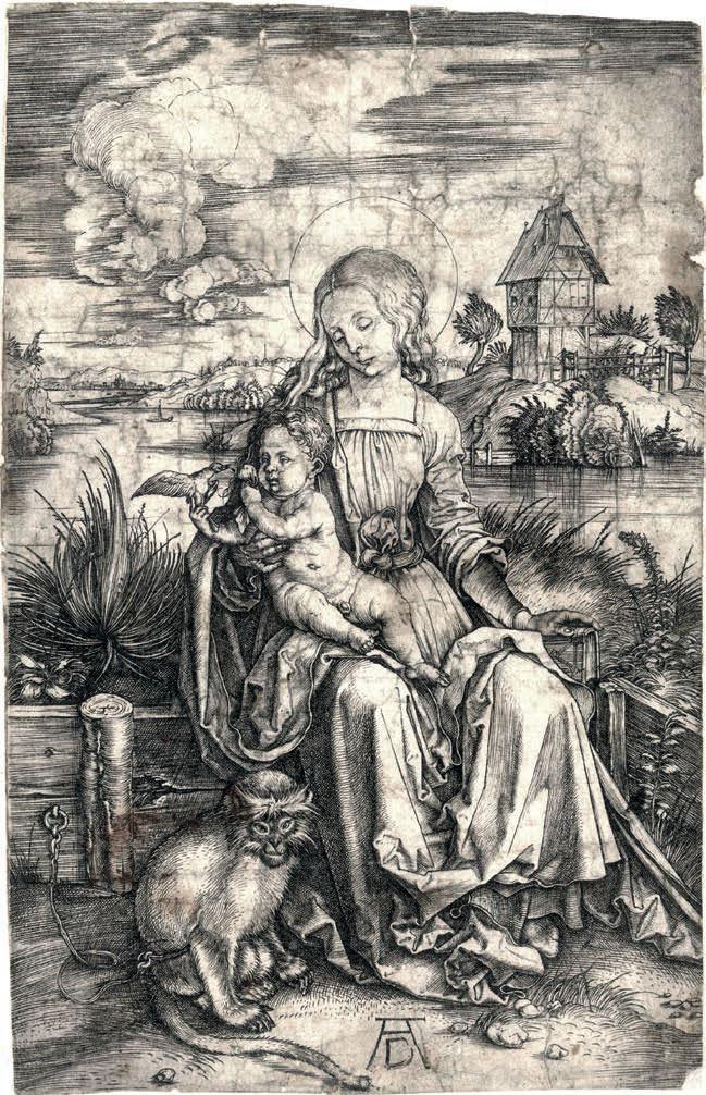 Albrecht Dürer, Madonna della scimmia (1497-98; bulino, 189 x 121 mm, esemplare privo di margini; esemplare di unico stato, con caratteristiche simili alla variante E o F secondo Meder; iscrizioni: monogramma AD in basso al centro; Novara, Musei Civici)