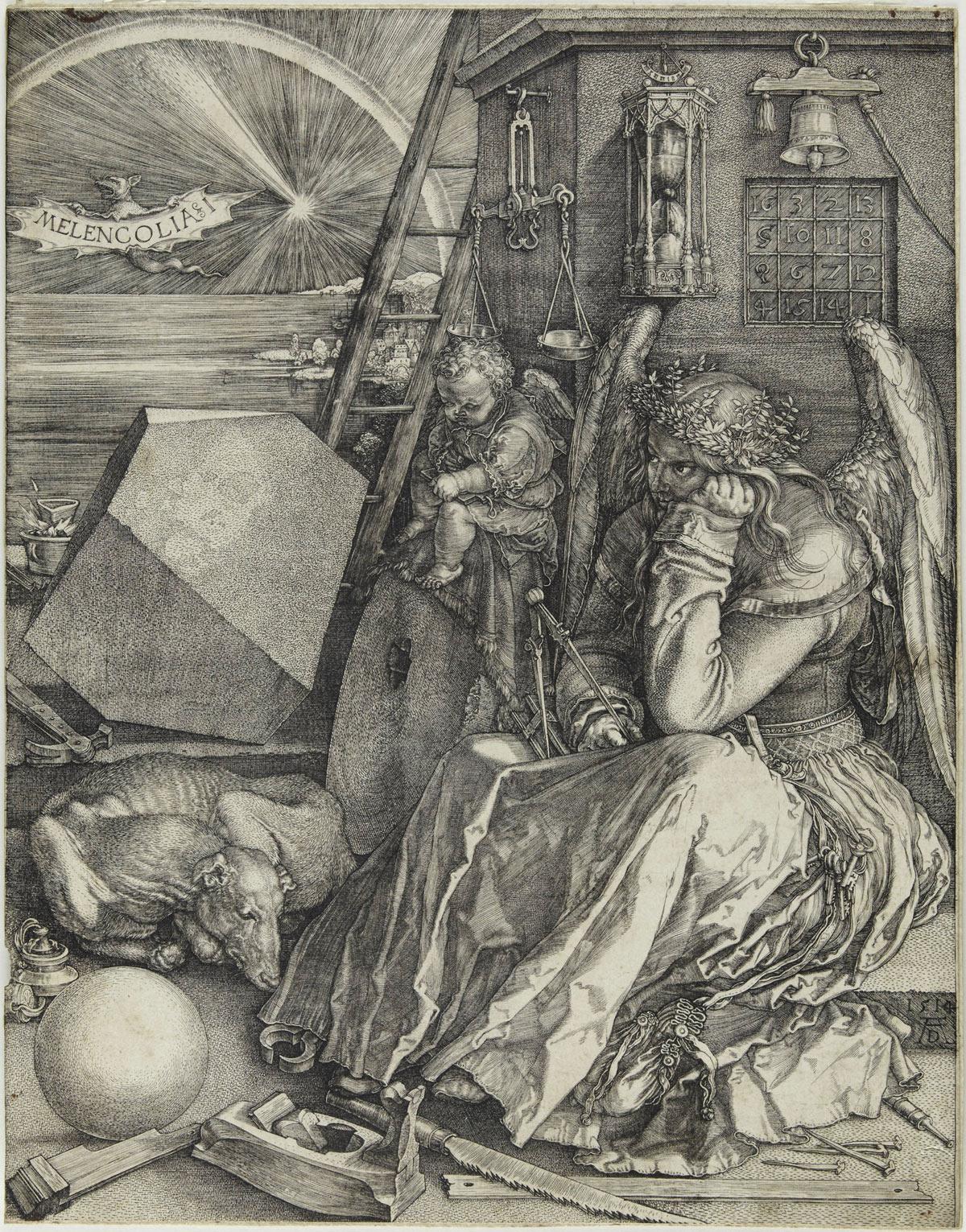 Albrecht Dürer, Melencolia I (Melanconia) (1514; bulino, 240 x 186 mm, esemplare privo di margini; esemplare di II stato su due, con caratteristiche simili alla variante D secondo Meder; iscrizioni: data e monogramma AD in basso a destra)