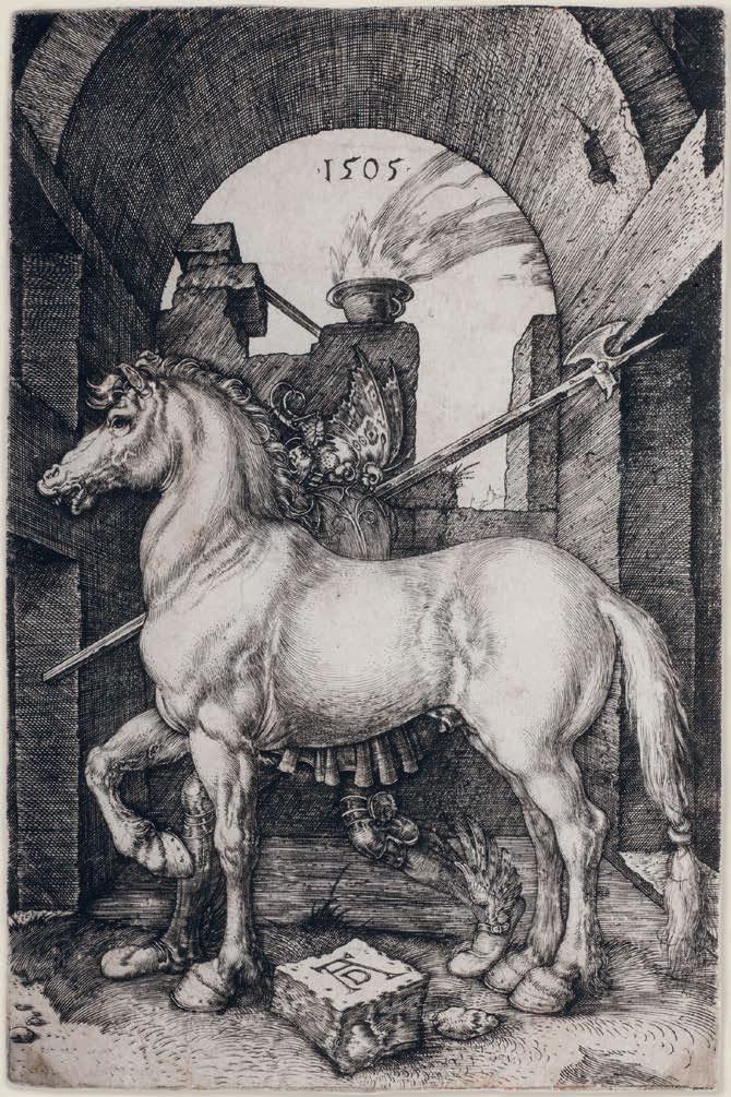 Albrecht Dürer, Il piccolo cavallo (1505; bulino, 165 x 108 mm, esemplare privo di margini; esemplare di unico stato, in variante A secondo Meder; iscrizioni: in alto al centro la data; in basso al centro il monogramma AD; filigrana: testa di toro e triangolo - M. 62; BR. 14881; Collezione privata)