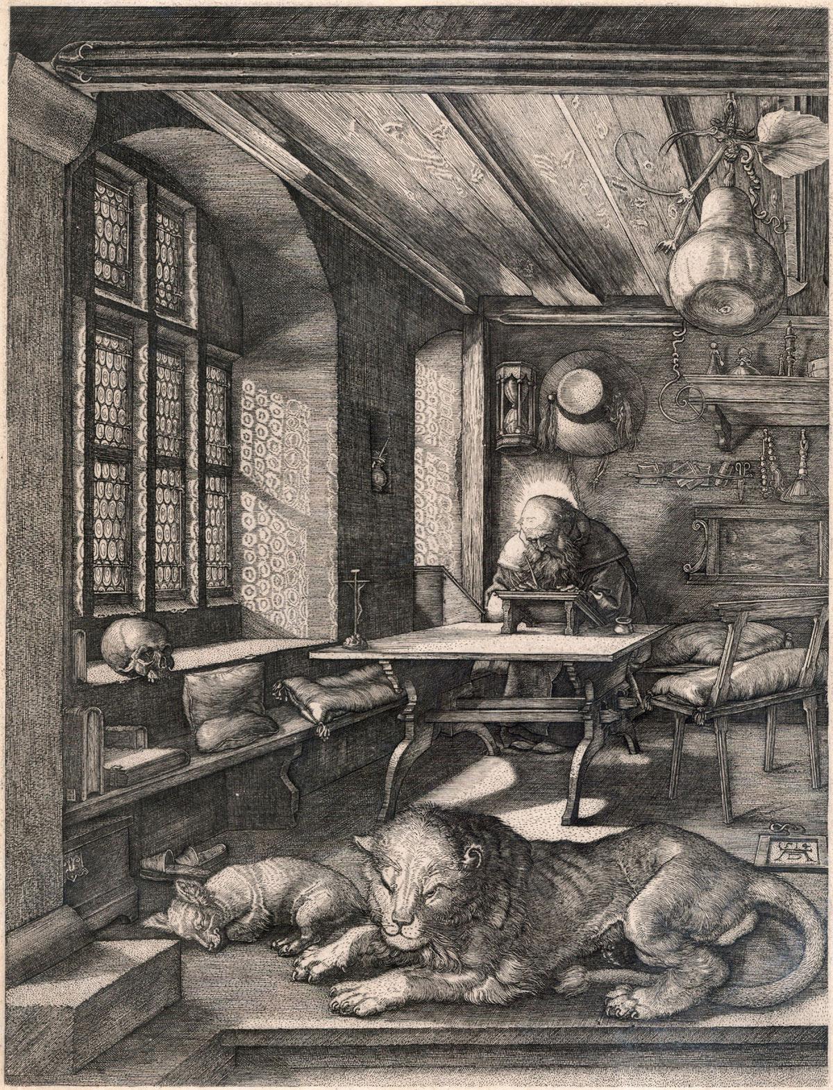 Albrecht Dürer, San Girolamo nello studio (1511; xilografia,  235 x 160 mm, esemplare con piccoli margini; esemplare di unico stato, con caratteristiche simili alla variante E secondo Meder; iscrizioni: data in basso a destra, monogramma AD in basso al centro; Pavia, Musei Civici)