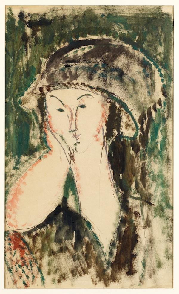 Amedeo Modigliani, Beatrice Hastings, Le menton appuyé sur la main droite (1915; olio su carta, 42 x 25 cm; Collezione Jonas Netter)