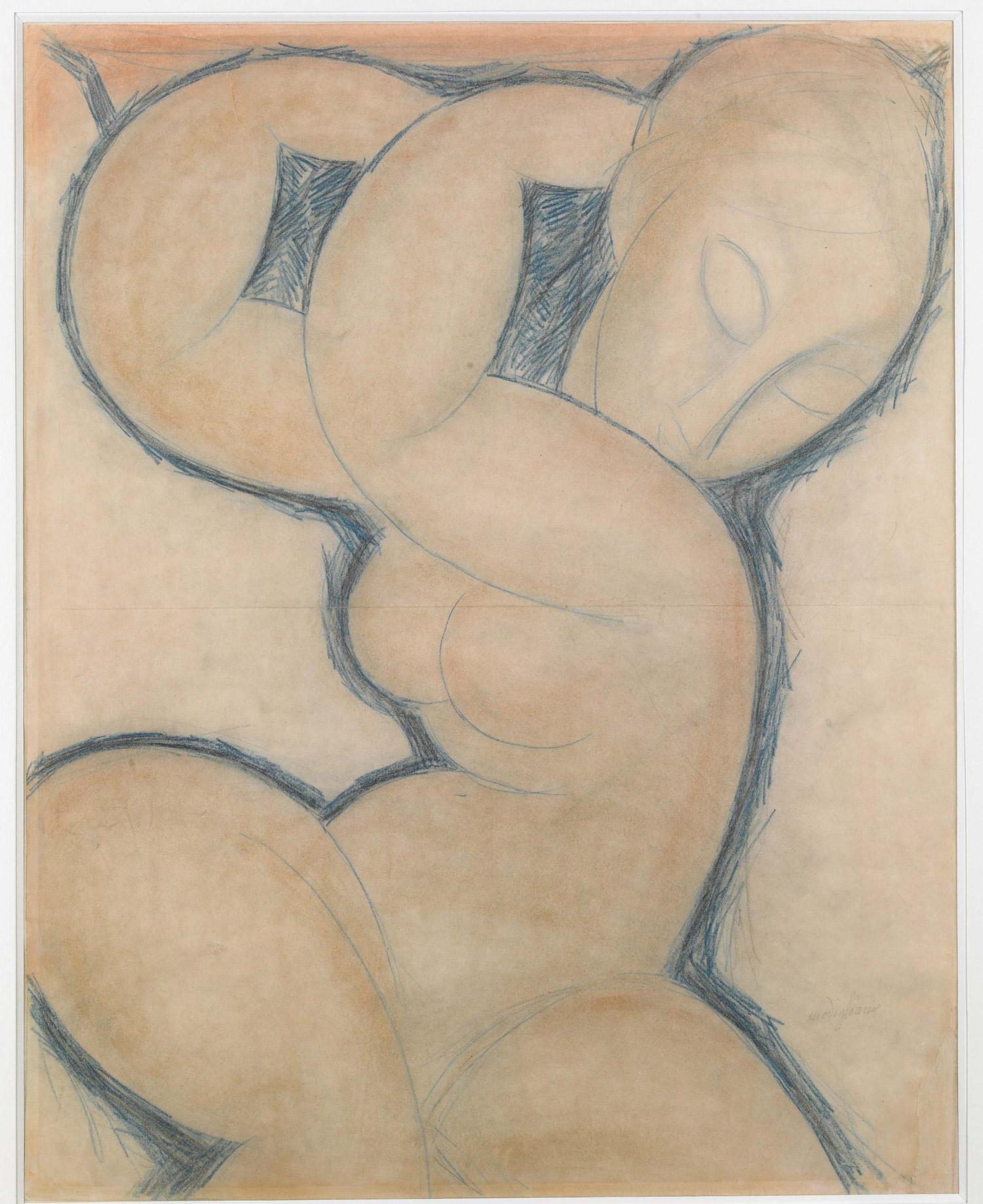 Amedeo Modigliani, Cariatide (bleue) (1913 circa; matita blu su carta, 56,5 x 45 cm; Collezione Jonas Netter)