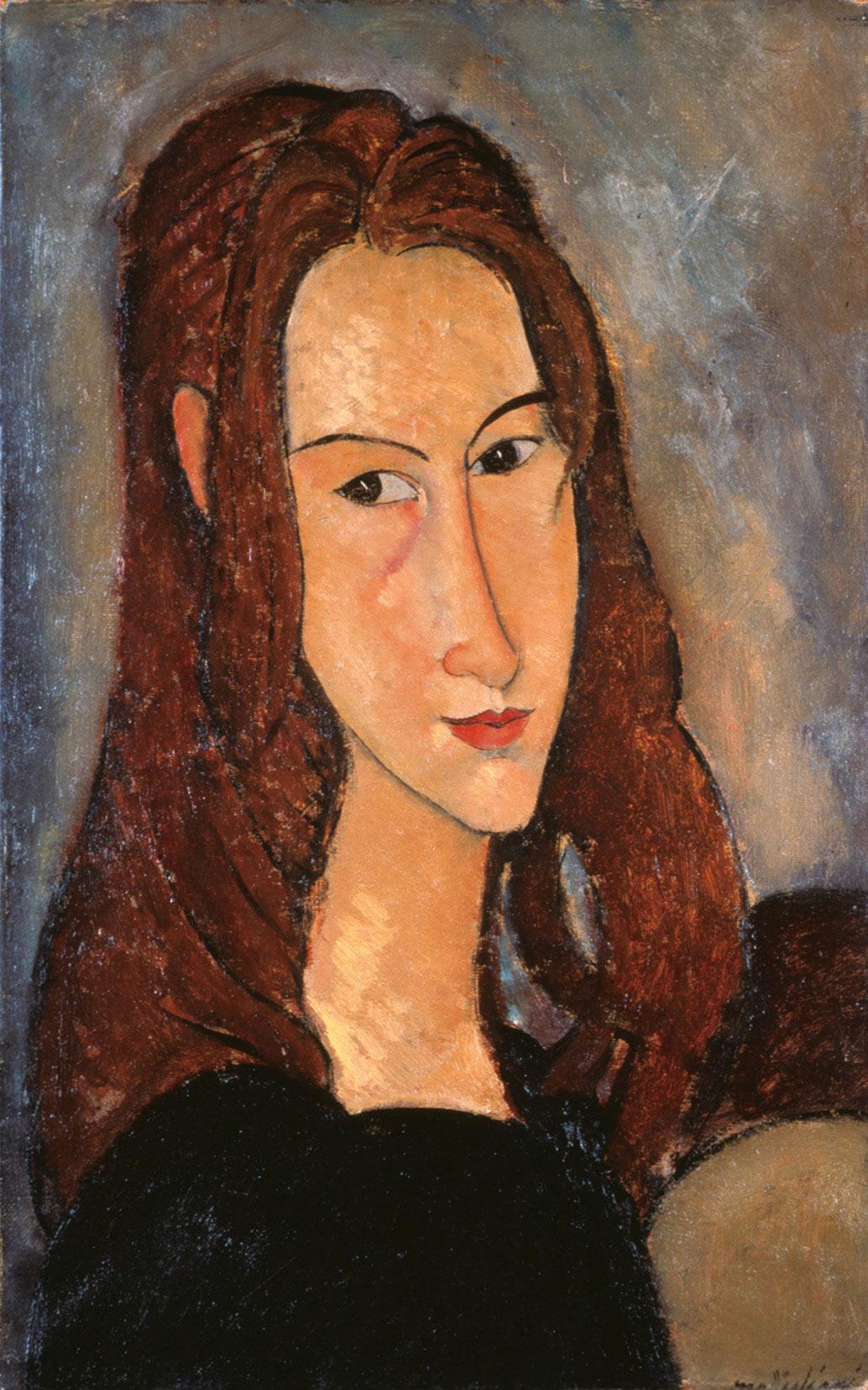 Amedeo Modigliani, Jeune fille rousse (Jeanne Hébuterne) (1918; olio su tela, 46 x 29 cm; Collezione Jonas Netter)