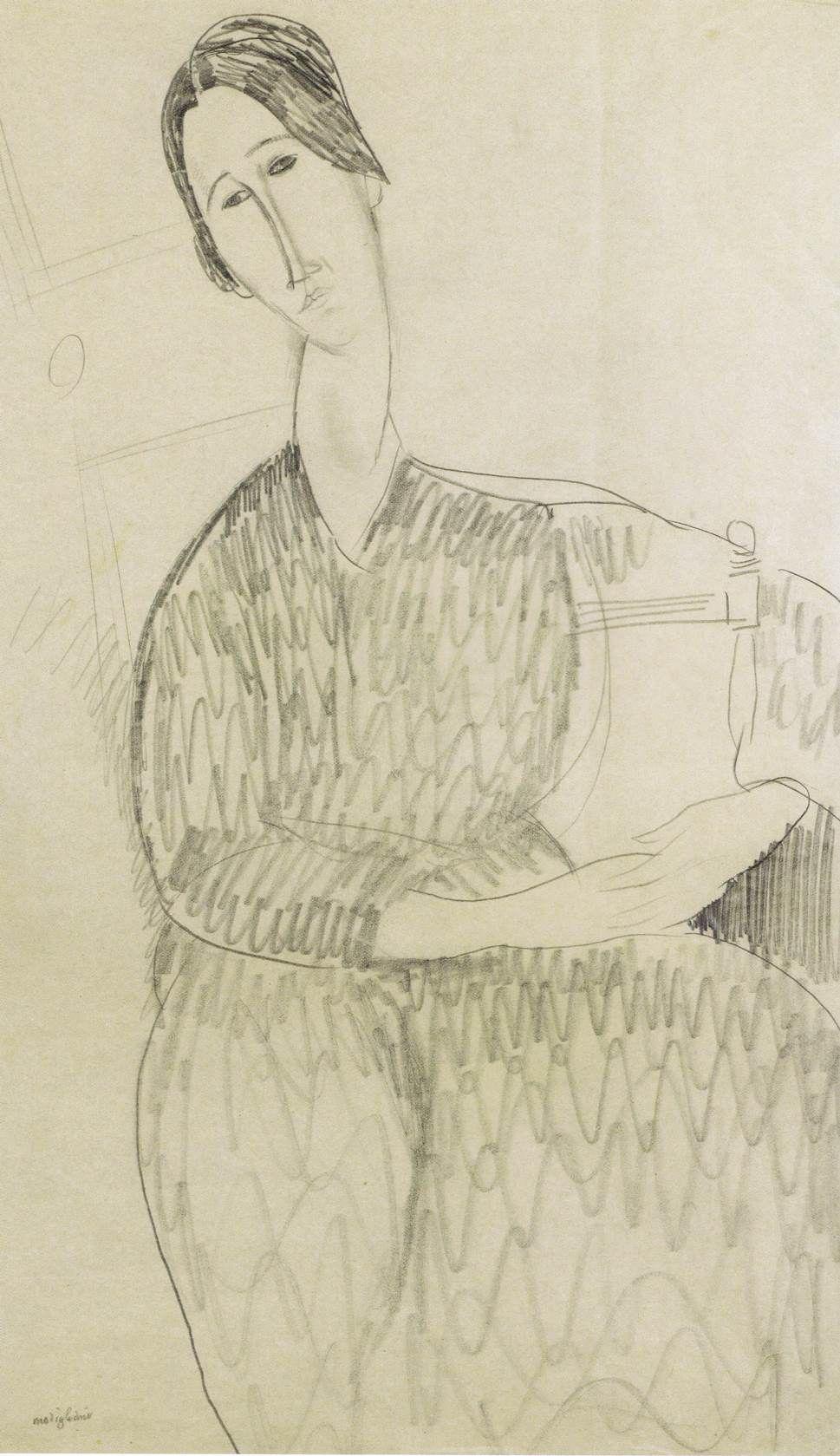 Amedeo Modigliani, Hanka Zborowska (1918; matita su carta, 42 x 26 cm; Collezione Jonas Netter)