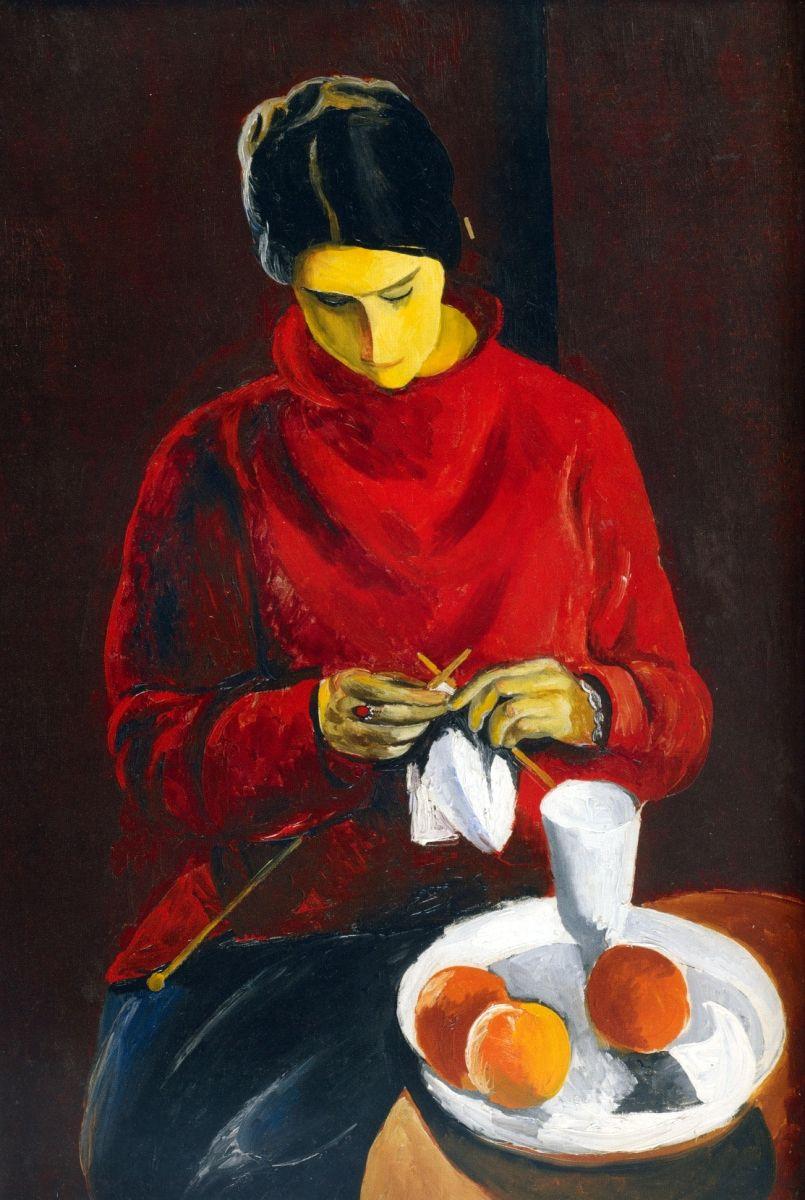 Moïse Kisling, La femme au pull-over rouge (1917; olio su tela, 93 x 65,5 cm; Collezione Jonas Netter)