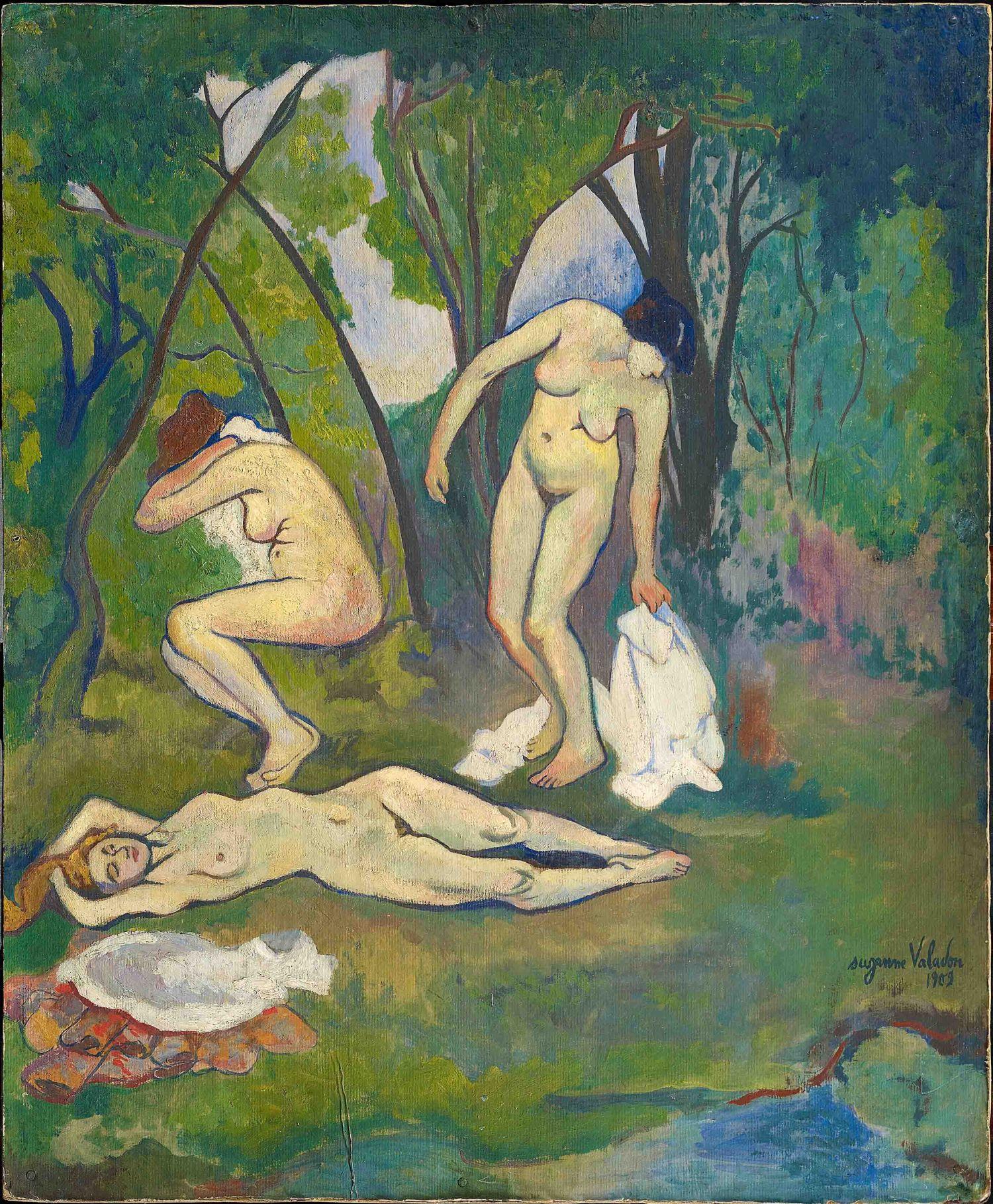 Suzanne Valadon, Trois nus à la campagne (1909; olio su cartone, 61 x 50 cm; Collezione Netter)