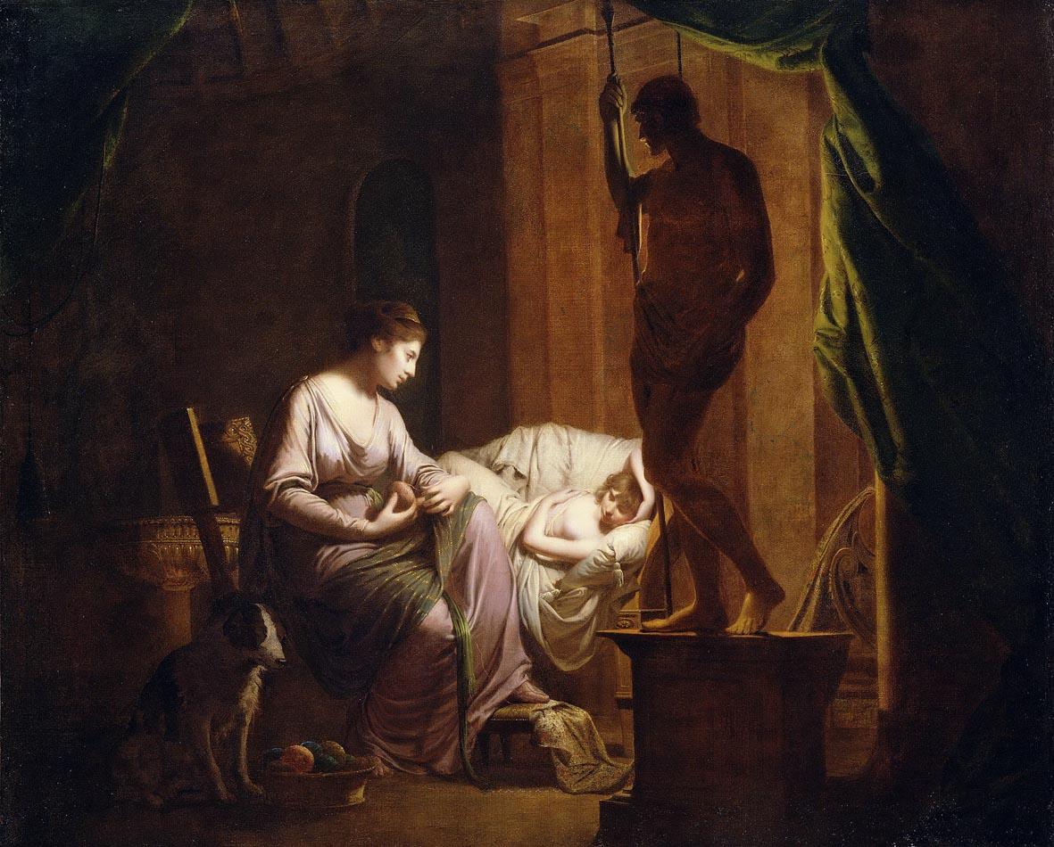 Joseph Wright of Derby, Penelope disfa la sua tela alla luce di una candela (1783; olio su tela, 106 x 131,4 cm; Los Angeles, J. Paul Getty Museum)