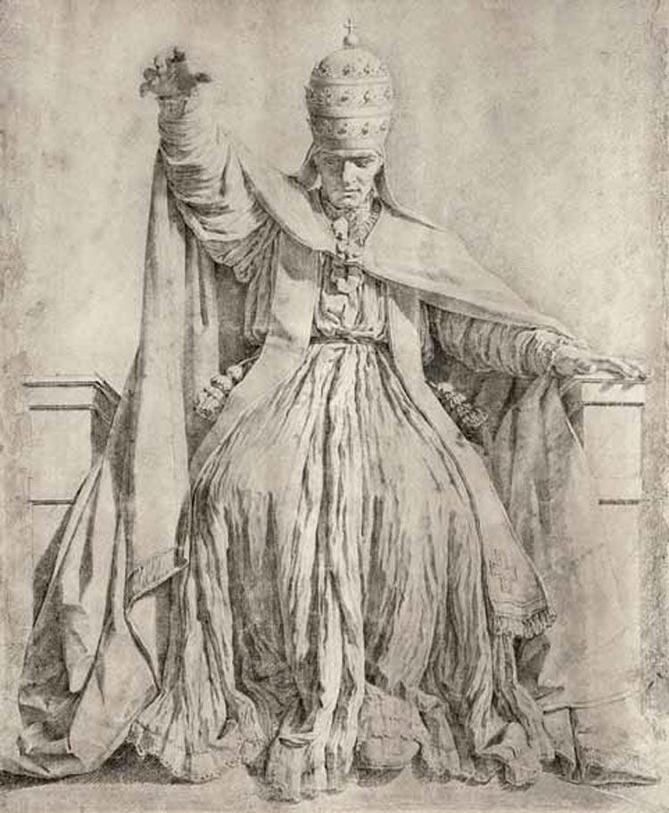 Ambito di Antonio Canova (Giovanni Tognoli?), Clemente XIV (matita e acquerello grigio su carta bianca ingiallita, 582 x 465 mm; Venezia, Museo Correr, Gabinetto dei Disegni e delle Stampe, inv. cl. III, 1472)
