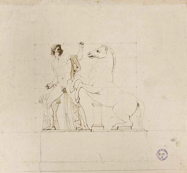 Antonio Canova, Studio dai Colossi di Monte Cavallo (inchiostro su carta avorio, 352 x 382 mm; Bassano del Grappa, Museo Civico, inv. B 23.50)
