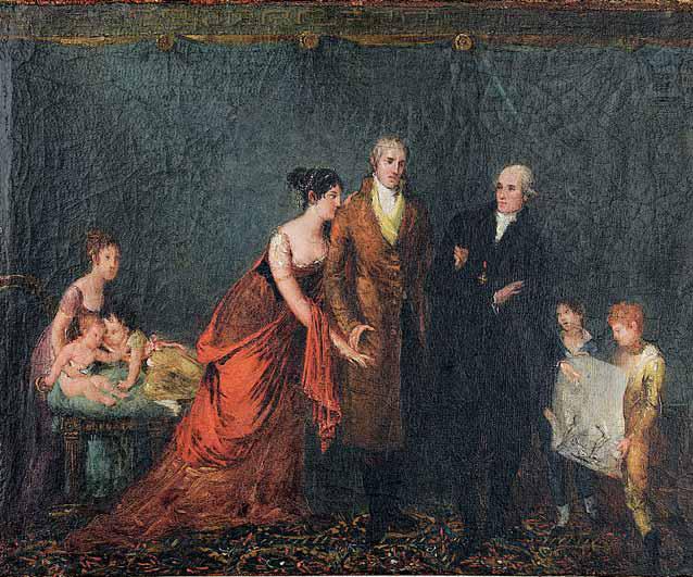 Martino De Boni (?), Antonio Canova mostra il disegno di Ercole e Lica alla famiglia Torlonia (1805-1806; olio su tela, 30 × 36,7 cm; Roma, Museo di Roma, inv. Dep GAA 130, FN 17690)