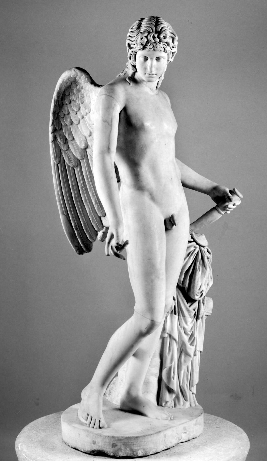 Arte romana, Statua di Eros tipo Centocelle (II secolo d.C.; marmo bianco a grana fine, altezza 165 cm; Napoli, Museo Archeologico Nazionale, inv. 6353)