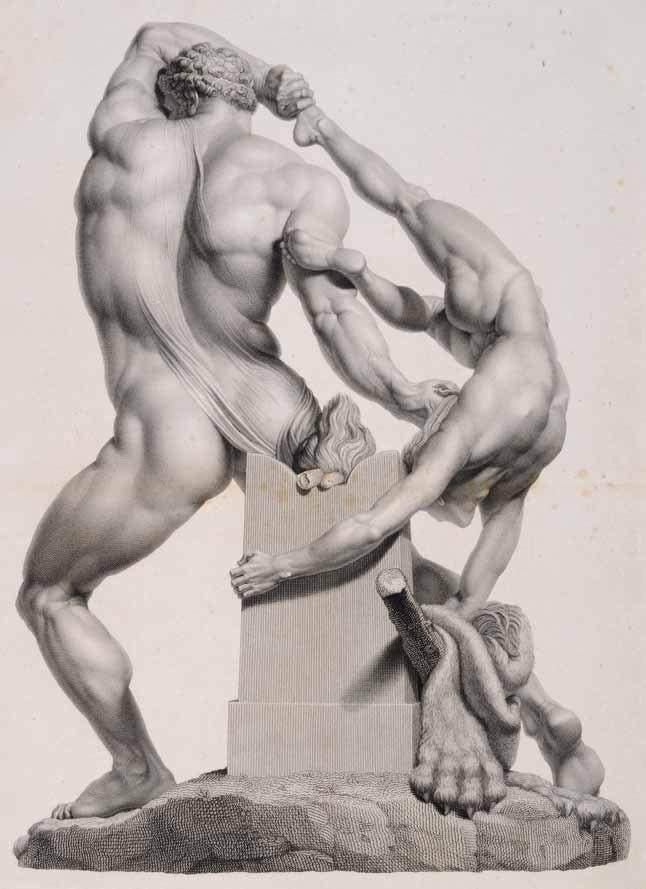 Pietro Fontana, Ercole e Lica (di schiena) (1811-1812; acquaforte e bulino, 527 × 391 mm; Roma, Museo di Roma, inv. MR 16340)