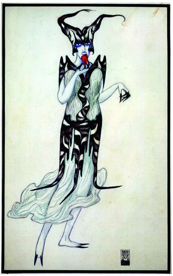 Alberto Martini, Gelosia (1919-1920; tempera su carta, 310 × 190 mm; Collezione Ines Grignani Anderloni)