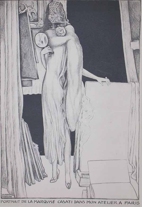 Alberto Martini, Portrait del la marquise Casati dans mon atelier a Paris (1925; litografia su carta, 365 x 270 mm; Collezione privata)