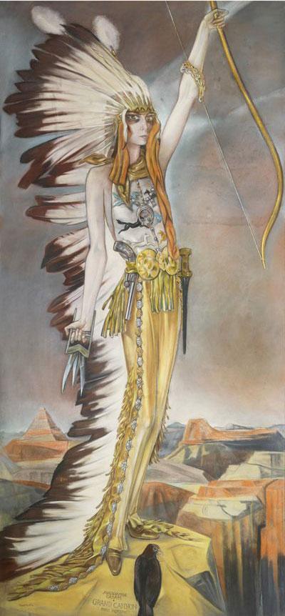 Alberto Martini, La marchesa Casati come arciere selvaggio (Grand Canyon) (1927; pastello su carta, 300 x 140 cm; Collezione privata Audouy)