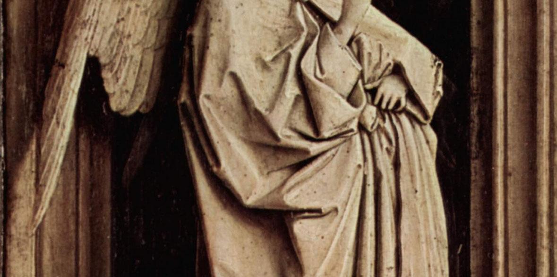 Jan van Eyck, Annunciazione, dettaglio dell'ala dell'angelo