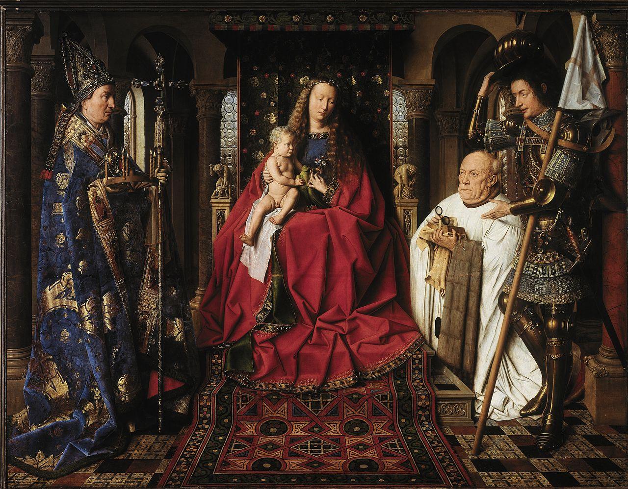 Jan van Eyck, La Madonna del canonico van der Paele (1436; olio su tavola, 122,1 x 157,8 cm; Bruges, Groeningemuseum)