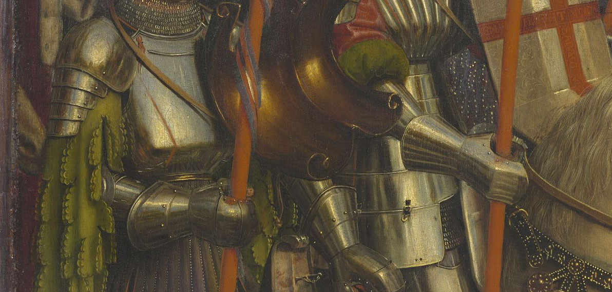 Jan van Eyck e Hubert van Eyck, Polittico dell'Agnello Mistico, dettaglio dei Milites Christi