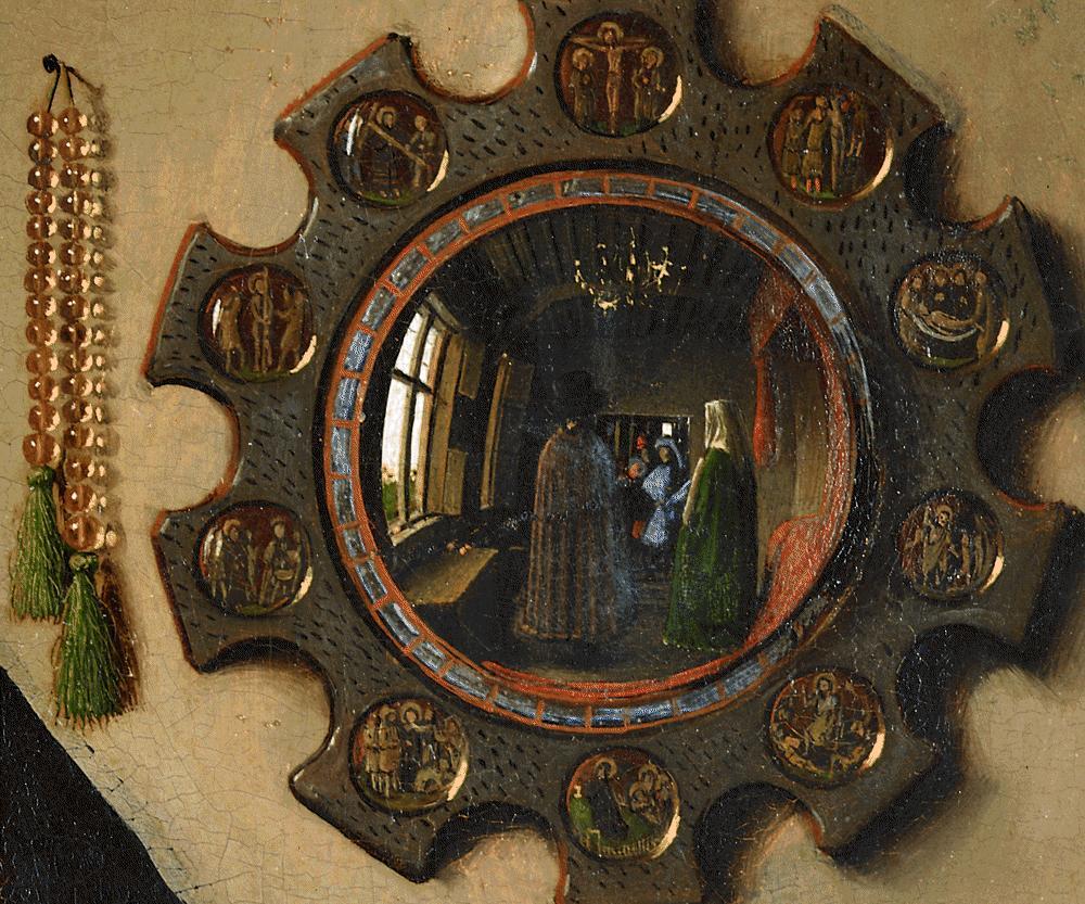 Jan van Eyck, Ritratto dei coniugi Arnolfini, dettaglio dello specchio
