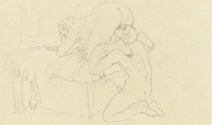 Francesco Hayez, Scena di sesso tra Francesco Hayez e Carolina Zucchi (1821-1831 circa; matita nera su carta velina; Collezione privata)
