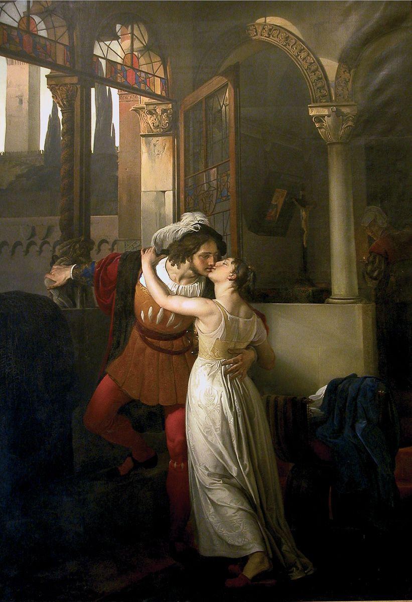 Francesco Hayez, L'ultimo bacio dato da Giulietta a Romeo (1823; olio su tela, 291 x 201,8 cm; Tremezzina, Villa Carlotta, Museo e Giardino Botanico)
