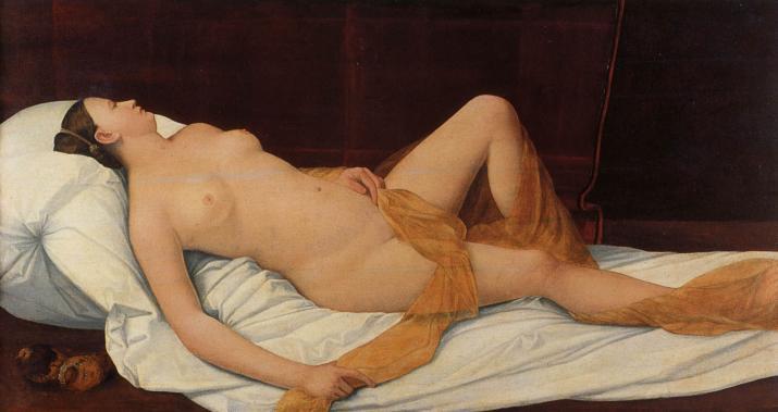 Bernardino Licinio, La Nuda (1540 circa; olio su tela, 80,5 x 154 cm; Firenze, Galleria degli Uffizi)