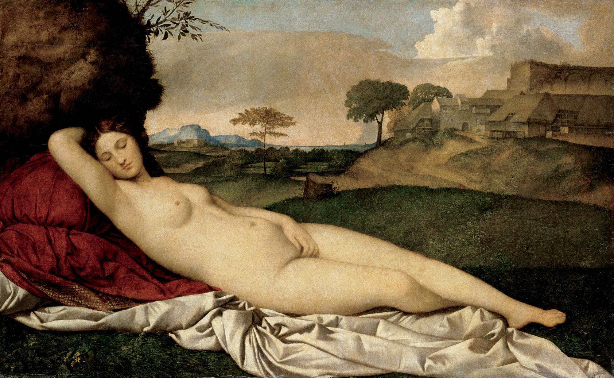 Giorgione (finito da Tiziano), Venere dormiente (1507-1510; olio su tela, 108,5 x 175 cm; Dresda, Gemäldegalerie)