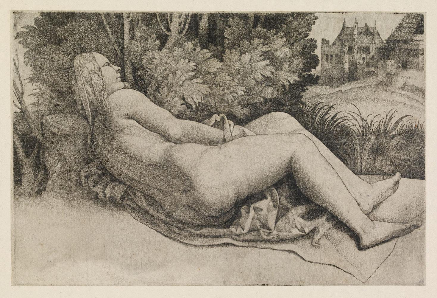 Giulio Campagnola, Venere in un paesaggio (1510-1515; incisione, 121 x 182 mm; Londra, British Museum)