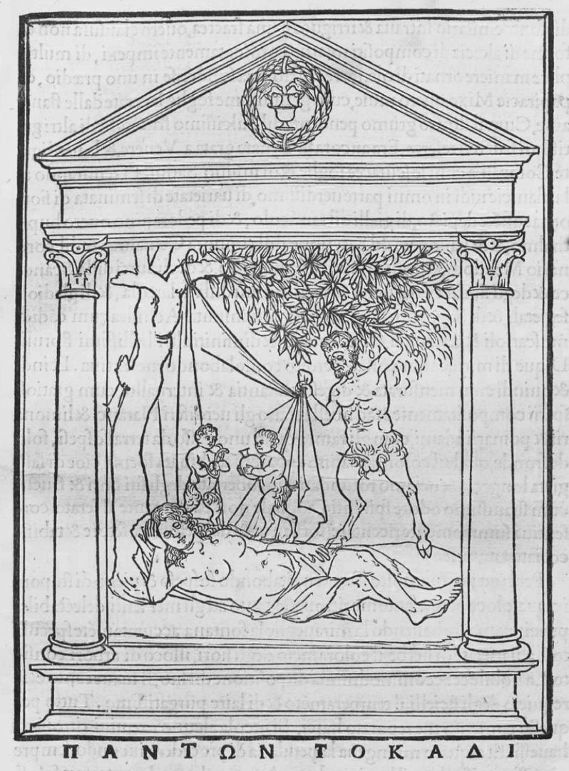 Benedetto Bordone (attribuito), Scena con ninfa e satiro, dalla Hypnerotomachia Poliphili (1499, pubblicato da Aldo Manuzio in Venezia; incisione, foglio 29,5 x 22 cm)