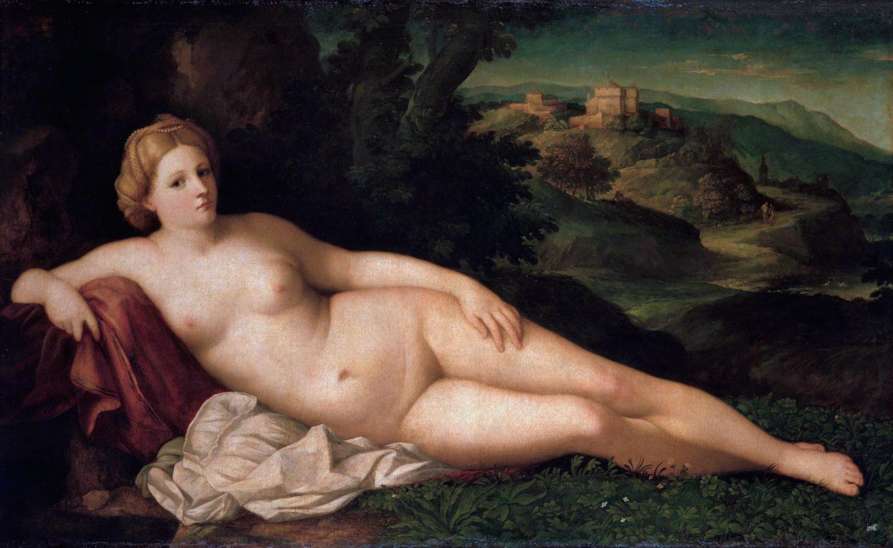 Palma il Vecchio, Ninfa in un paesaggio (1518-1520 circa; olio su tela, 113 x 186 cm; Dresda, Gemäldegalerie)