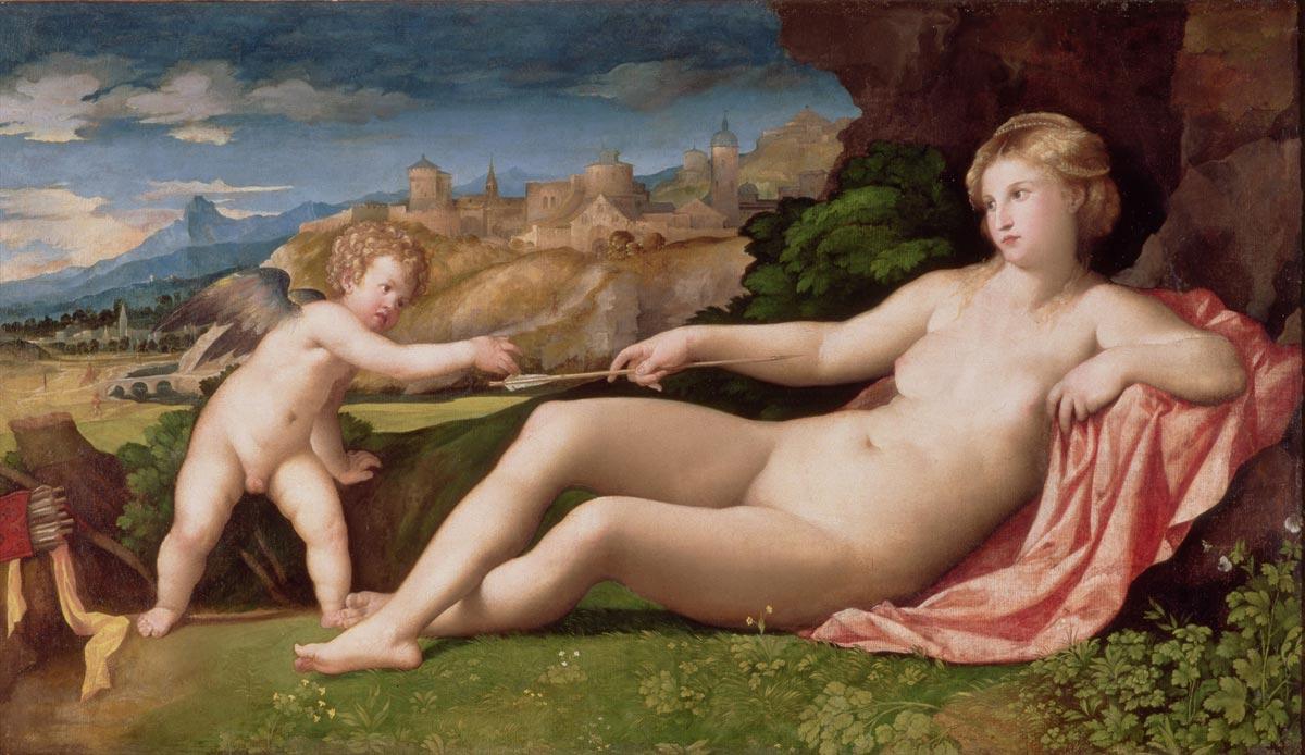 Palma il Vecchio, Venere e Cupido (1520 circa; olio su tela, 118,1 x 208,9 cm; Cambridge, Fitzwilliam Museum)