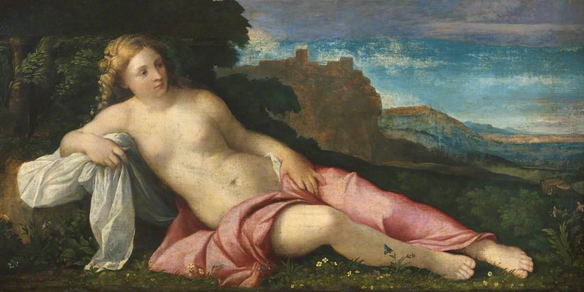 Palma il Vecchio, Venere in un paesaggio (1520 circa; olio su tela, 77,5 x 152,7 cm; Londra, Courtauld Gallery)