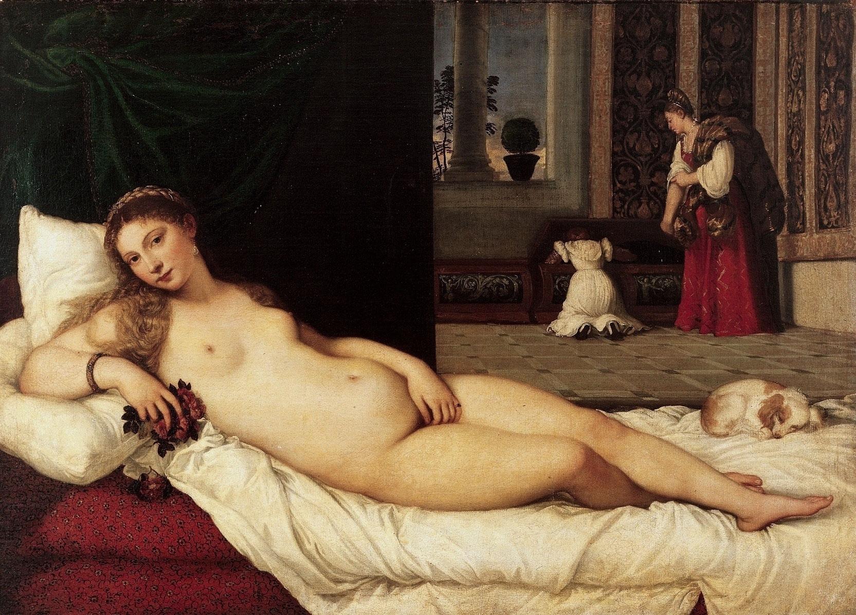Tiziano, Venere di Urbino (1538; olio su tela, 119 x 165 cm; Firenze, Galleria degli Uffizi)