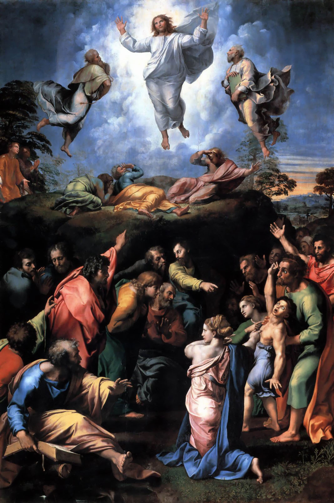 Raffaello, Trasfigurazione (1518-1520; tempera grassa su tavola, 410 x 279 cm; Città del Vaticano, Musei Vaticani, Pinacoteca Vaticana)