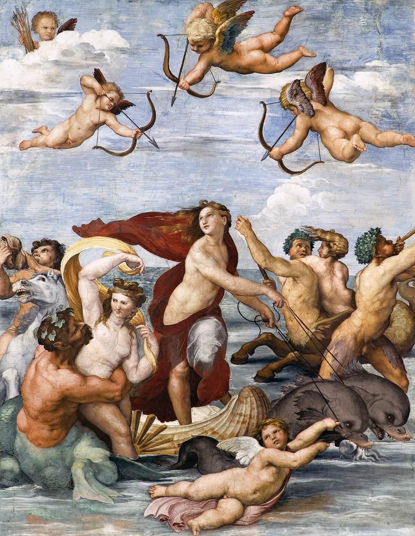 Raffaello, Trionfo di Galatea (1512; affresco, 295 x 225 cm; Roma, Villa Farnesina)