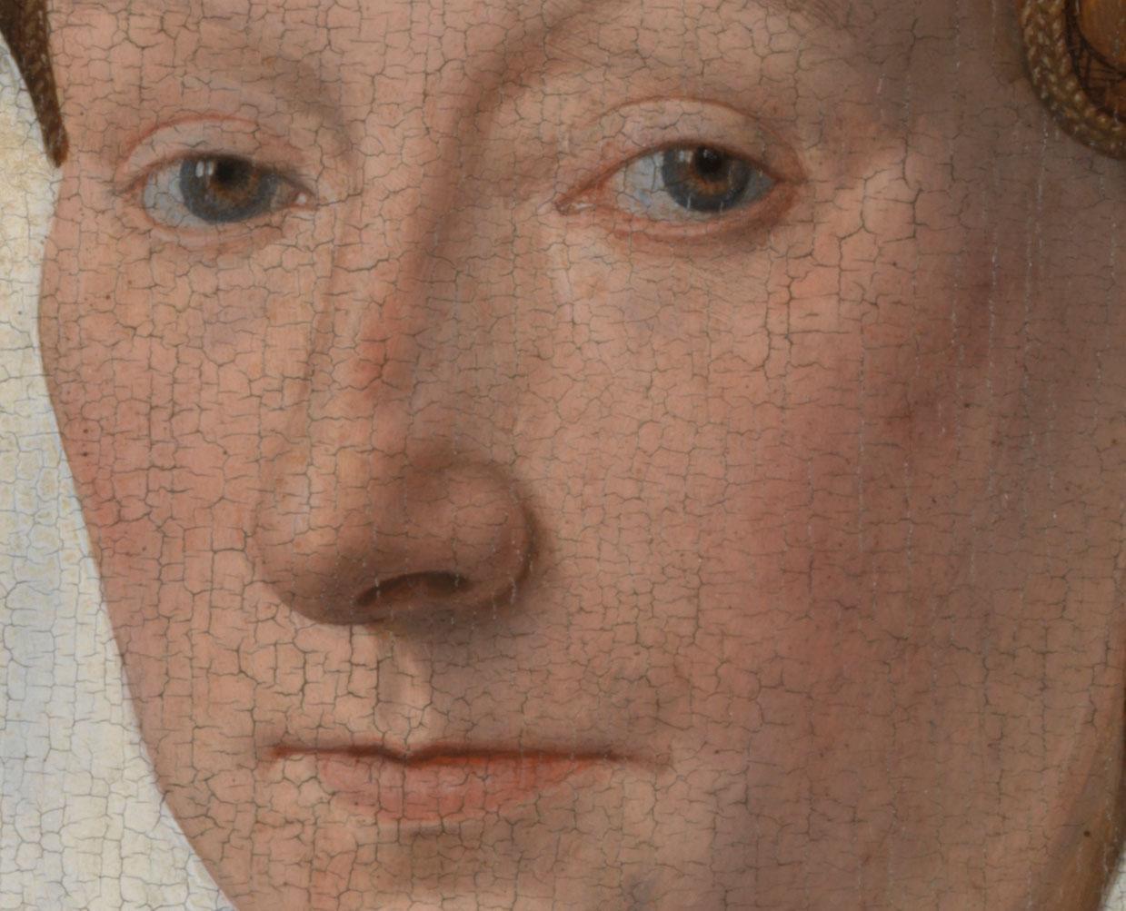 Jan van Eyck, Ritratto di Margaretha, dettaglio