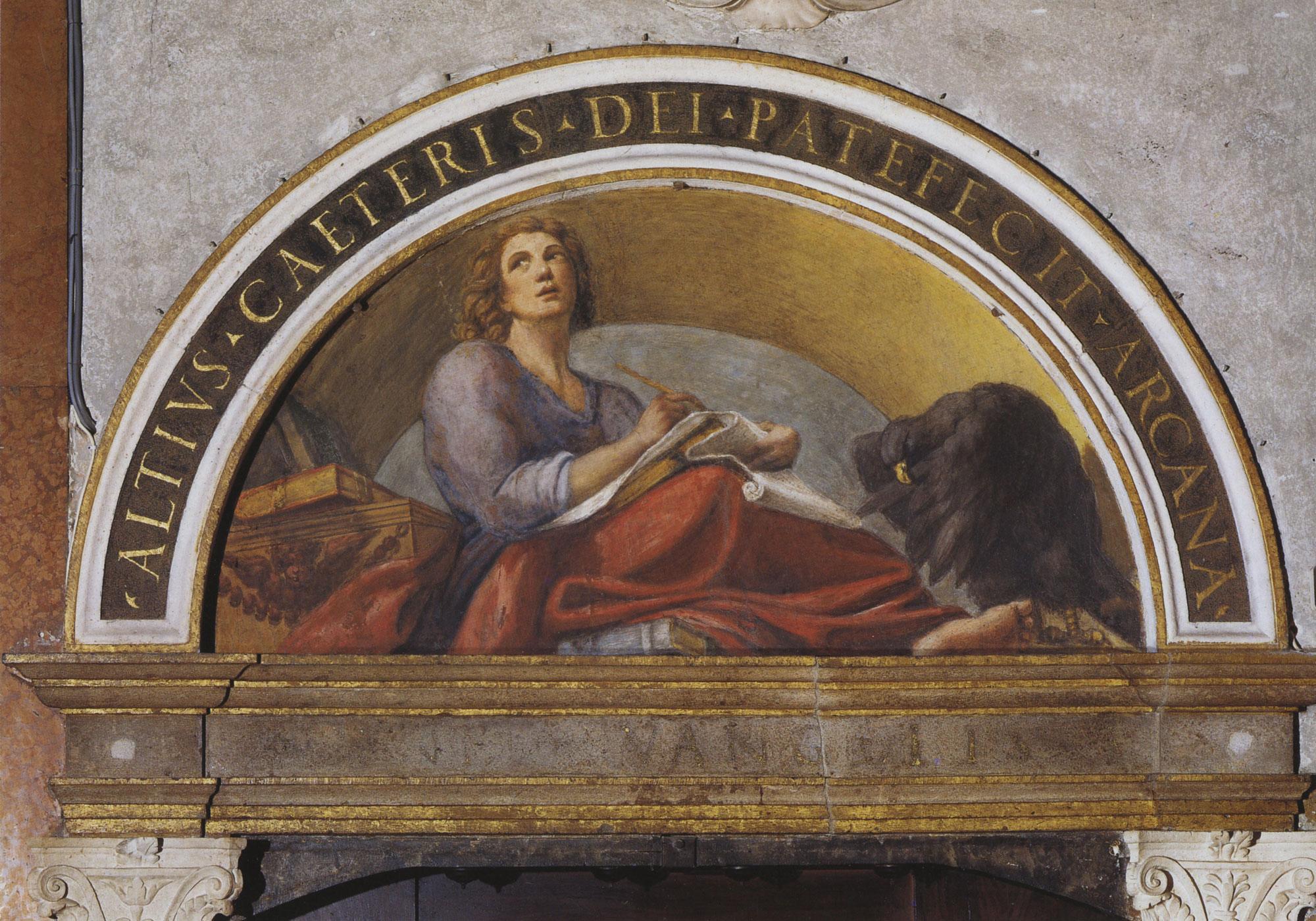 Lunetta con figura di San Giovanni Evangelista giovane, con l'aquila