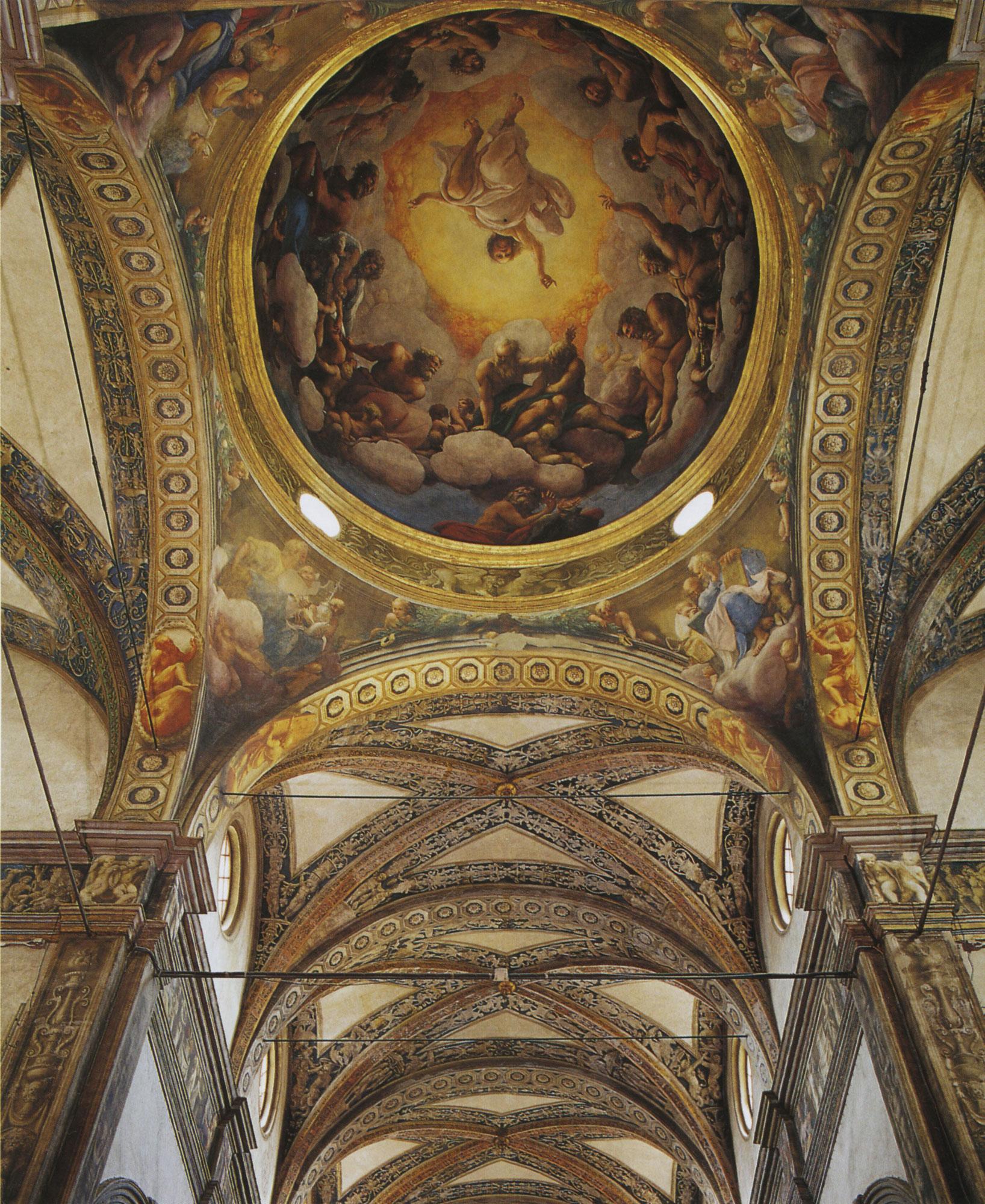 Visione verso la cupola dal coro con la chiamata di San Giovanni
