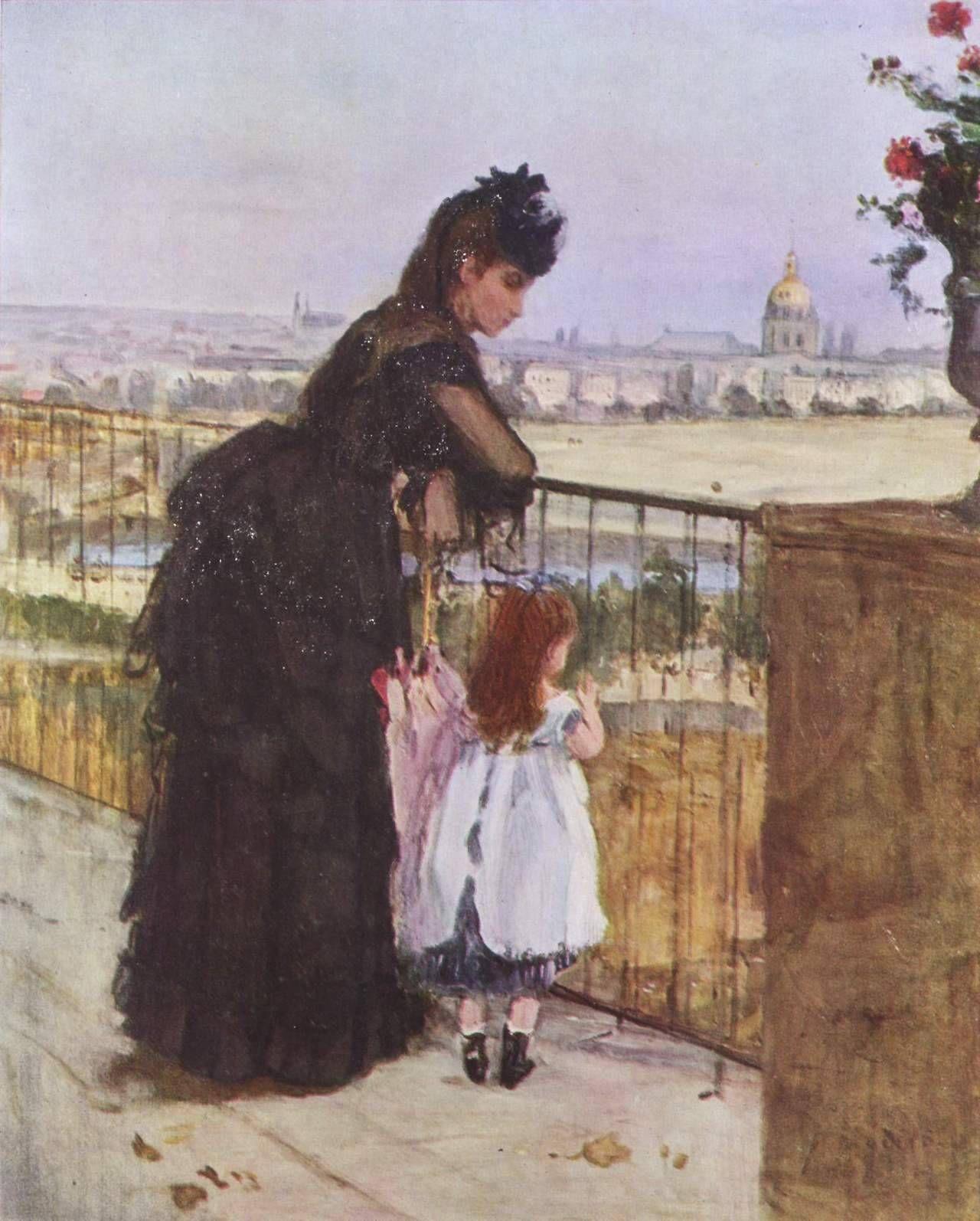 Bethe Morisot, Donna e bambina sul balcone (1872, olio su tela, 60 x 50 cm; collezione privata)