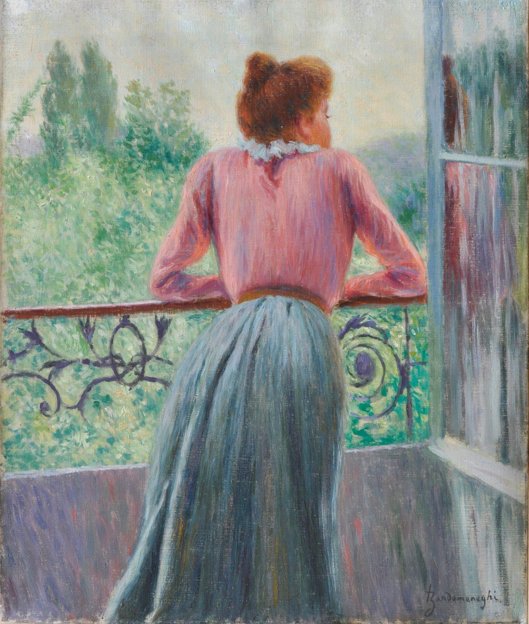 Federico Zandomeneghi, Donna al balcone (olio su tela, 46 x 38,5 cm; Viareggio, Società di Belle Arti)