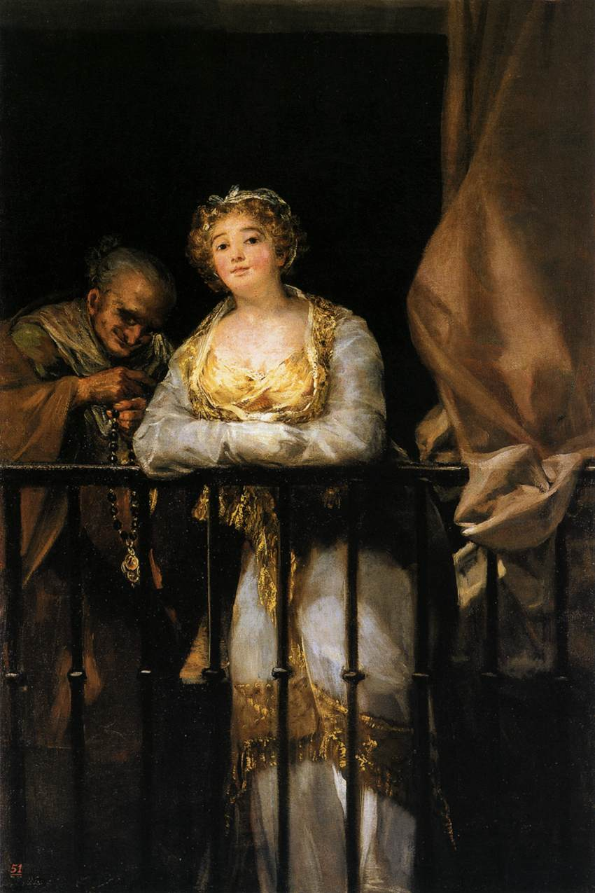 Francisco Goya, Maja e Celestina al balcone (1808 – 1812; olio su tela, 166 x 108 cm; Palma di Maiorca, Fundación Juan March)