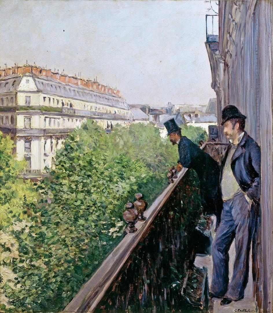 Gustave Caillebotte, Un balcone. Boulevard Haussmann (1880 circa; olio su tela, 69 x 62 cm; collezione privata)