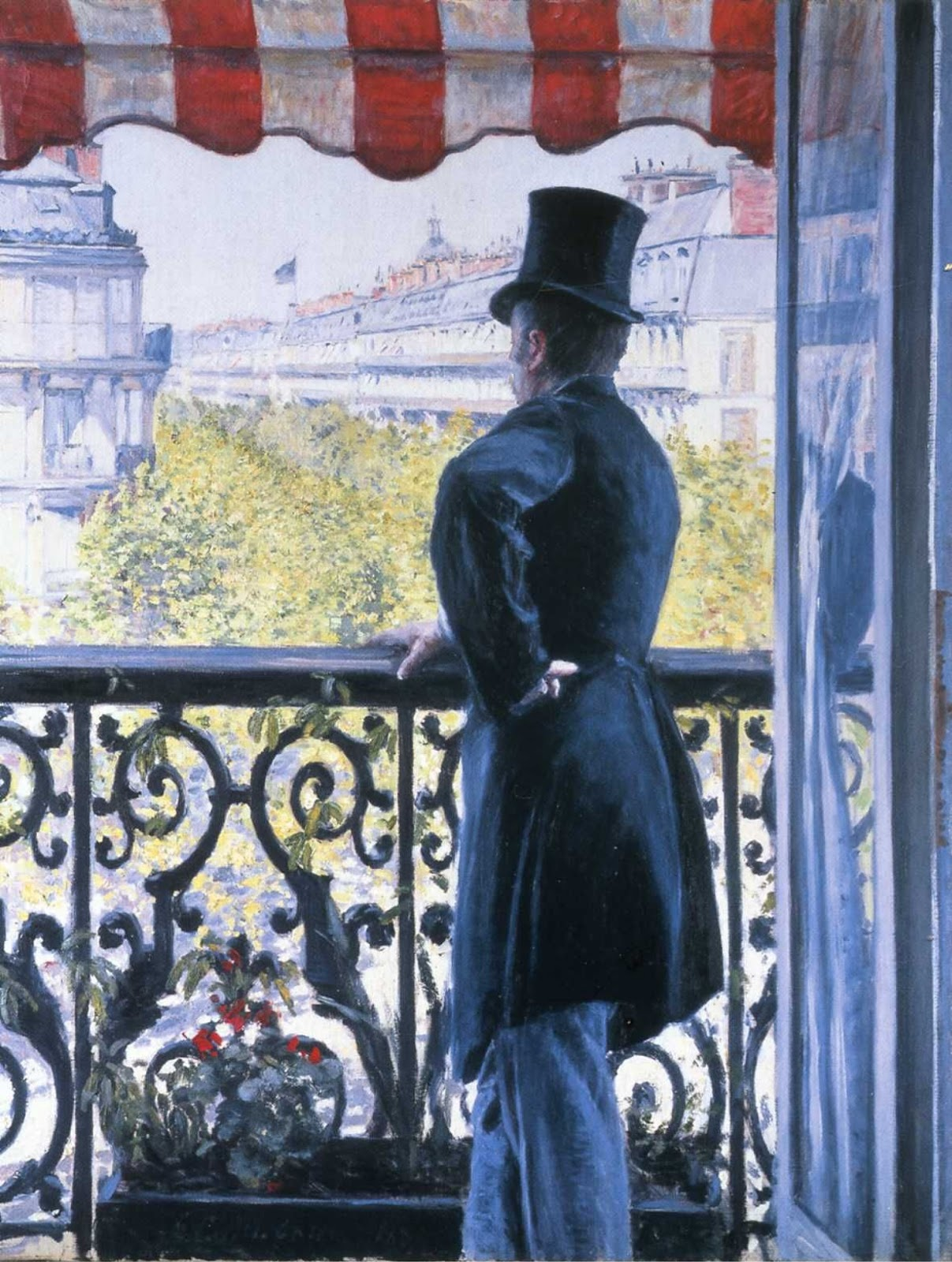 Gustave Caillebotte, L'uomo sul balcone. Boulevard Haussmann (1880 circa; olio su tela, 116,5 x 89,5 cm; collezione privata)