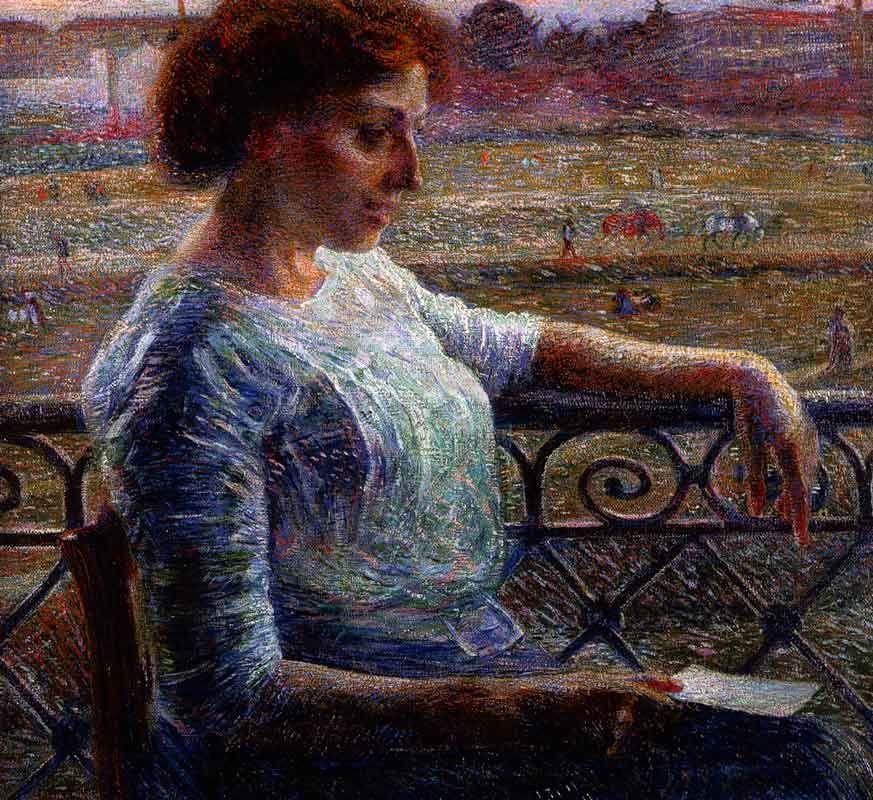 Umberto Boccioni, La sorella Amelia al balcone (1909; olio su tela, collezione privata)