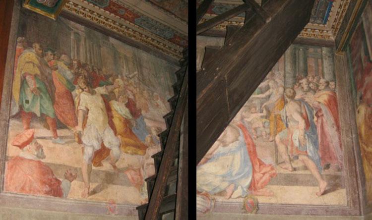 Cristoforo Roncalli, L'incendio della chiesa di San Marcello al Corso (1583-1584; affresco; Roma, Oratorio del Crocifisso)